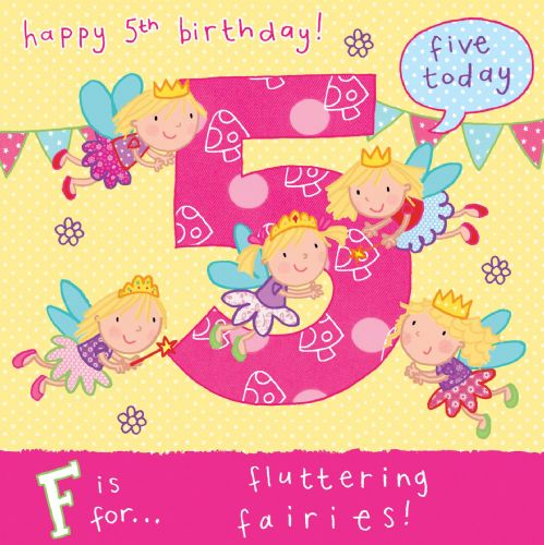 Age 5 girls birthday card with unicorn age 5 flying fairies birthday card tw055 bookmarktalkfo Images